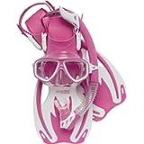 Cressi Junior Snorkeling Kit for Kids Ages 3 to 8 - Mask + Dry Snorkel + Adjustable Fins + Net Bag - Rocks Kids Set