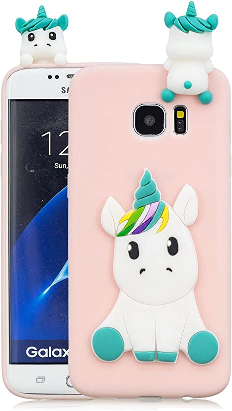 Leton Funda Samsung Galaxy S7 Edge Silicona Unicornio 3D Suave Flexible TPU Carcasa Galaxy S7 Edge Ultra Delgado Mate Gel Tapa Antigolpes Goma Cubierta Case Ultrafina 3D Papa Protectora Bumper Rosa: Amazon.es: