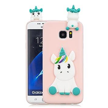 Leton Funda Samsung Galaxy S7 Edge Silicona Unicornio 3D Suave Flexible TPU Carcasa Galaxy S7 Edge Ultra Delgado Mate Gel Tapa Antigolpes Goma ...