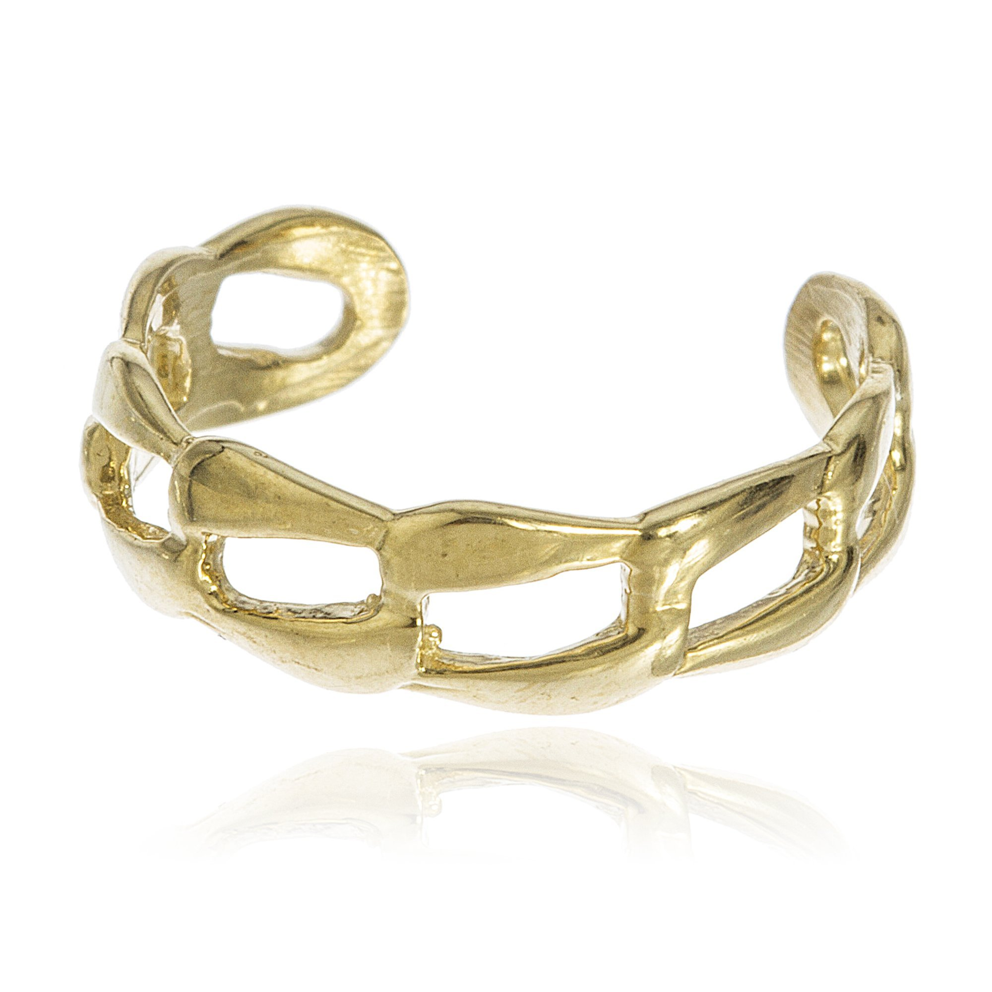 10k Yellow Gold Cuban Link Toe Ring (GO-693)