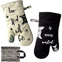 Warome Oven Mitts-Cute Cat Oven Mitts Extra Long Wrist Protection -Heat Resistant Oven Gloves, Perfect for Kitchen…