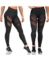 GRAT.UNIC Women's Mesh Panels Stretchy Workout Sports Gym Yoga Leggings Ninth Pants