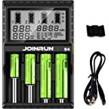 KINDEN 18650 Battery Charger 4 Slot Rechargeable Batteries with Car Charging Port LCD Display for AA AAA C 26650 16340 18500 18350 17670 RCR123 Fire Prevention Material BC-TRA