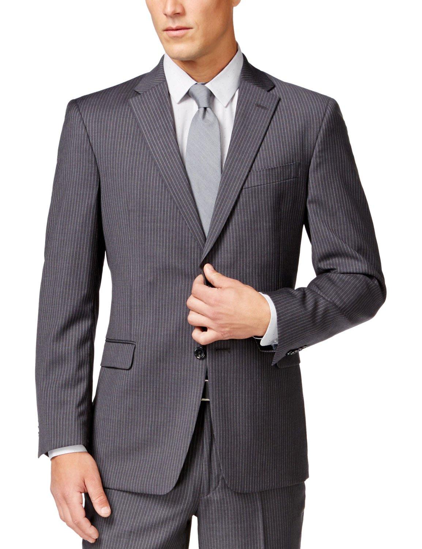Tommy Hilfiger Mens 2 Button Side Vent Trim Fit 100% Wool Suit Separate Coat,  Grey Slim Stripe, 38 Short