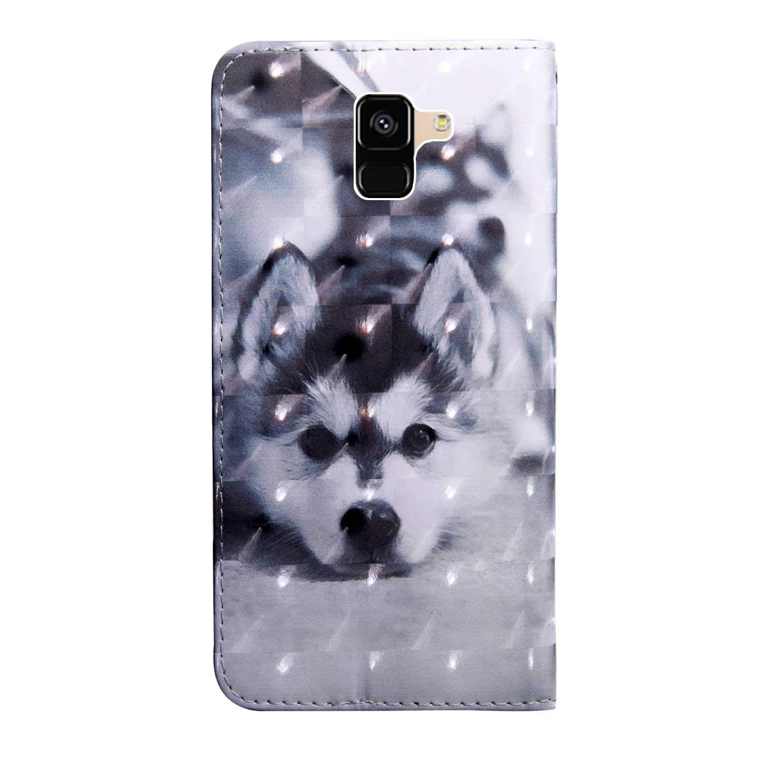 #6 Wolf 3D Pattern Design Wallet Flip Case for Samsung Galaxy A8 2018 Bear Village Galaxy A8 2018 Case PU Leather Book Style Cover with Card Slots