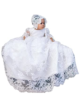 6e29526b3 Amazon.com: BuyBro Lovely Lace Baby Girls Christening Gowns Dresses Long  with Bonnet: Clothing