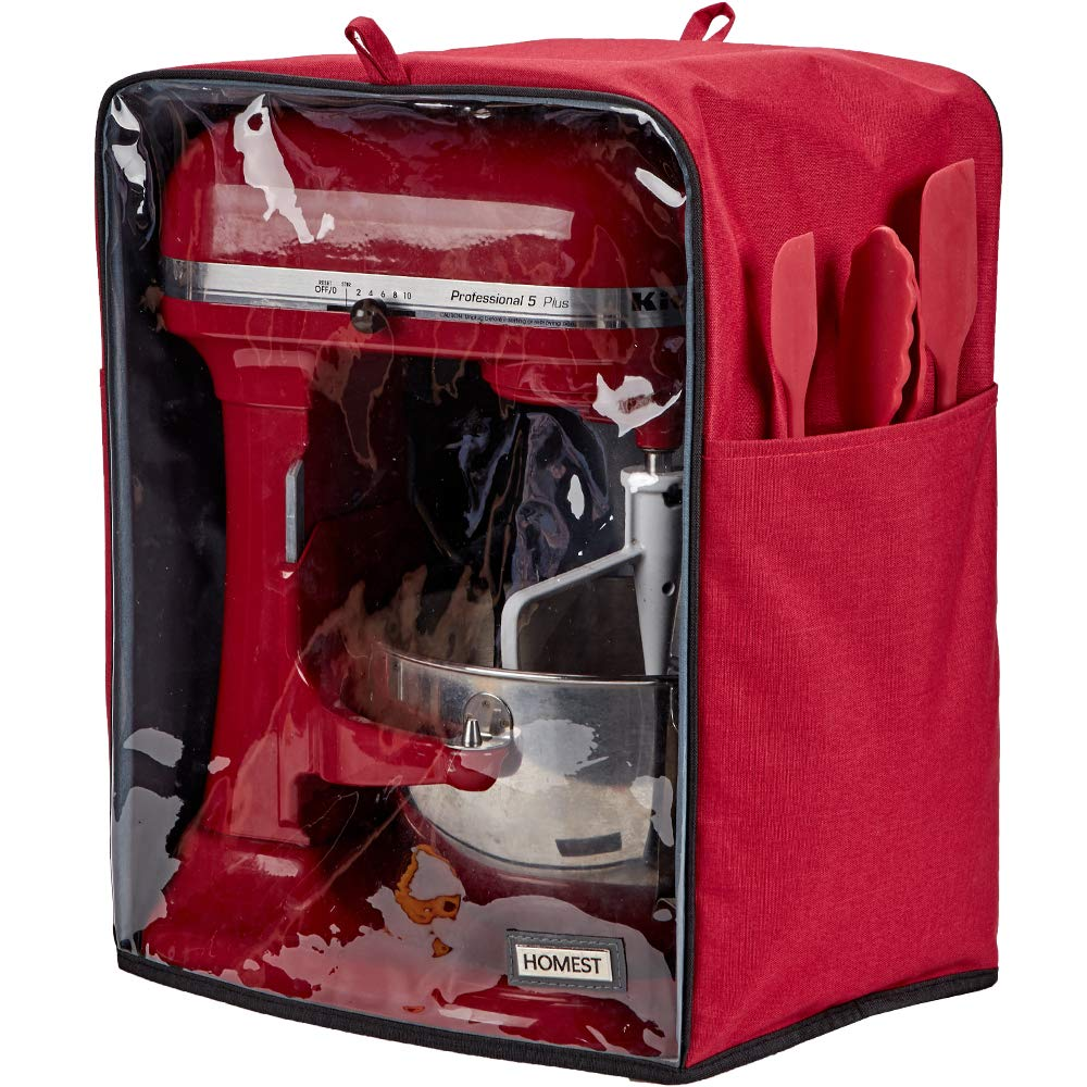 HOMEST Visible Stand Mixer Dust Cover with Pockets Compatible with KitchenAid Tilt Head 4.5-5 Quart, Empire Red (Patent Pending)