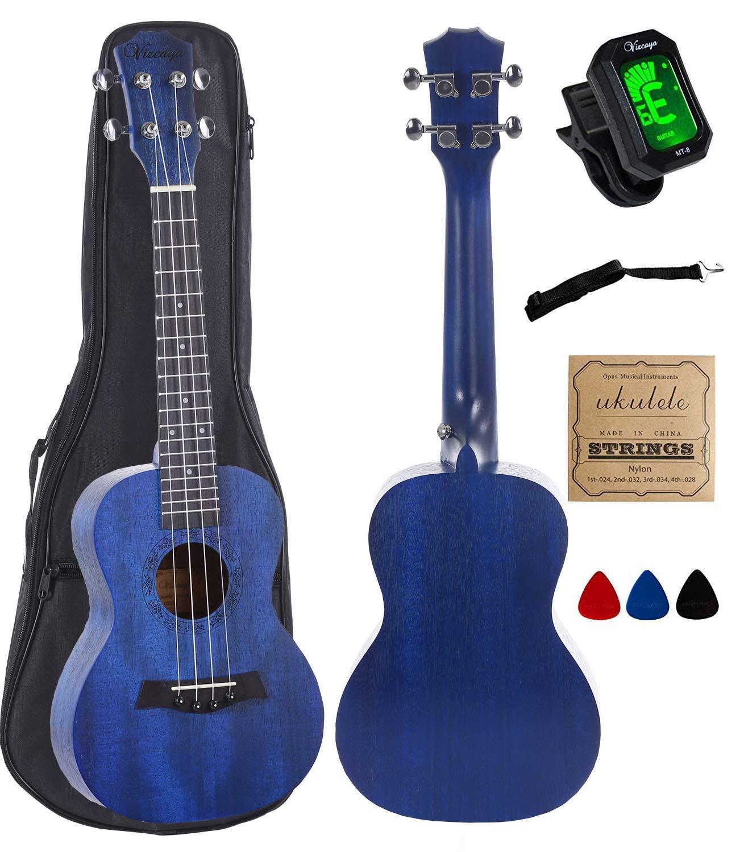 Concert Ukulele Mahogany 23 inch with blue stain finish with Ukulele Accessories, Gig Bag, Strap, Nylon String, Electric Tuner, Picks