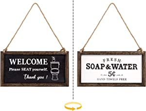Mkono 1 Pack Farmhouse Bathroom Signs Decor Wall Hanging Wood Rustic Signs with Funny Sayings Country Wall Art Decor, 2 Sides
