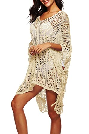 Women's Clothing Women V-neck Hollow Out Swimwear Swimsuit Cover Ups Loose Knitted Beach Shirts