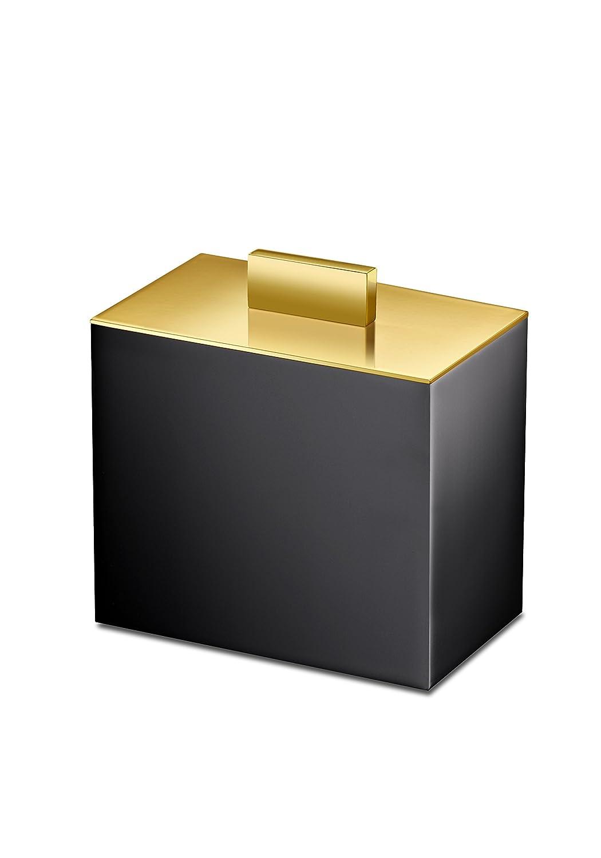 ブラック正方形コットンボール綿棒ホルダー、Q Tip Jarのバスルーム、真鍮 4 W x 2.4 D x 4.1 H in. 88704NO  ブラックゴールド B0716SFFM7