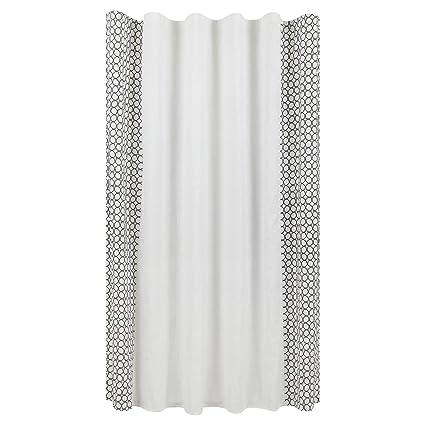 Amazon Border Panel Embroidery Shower Curtain Black White