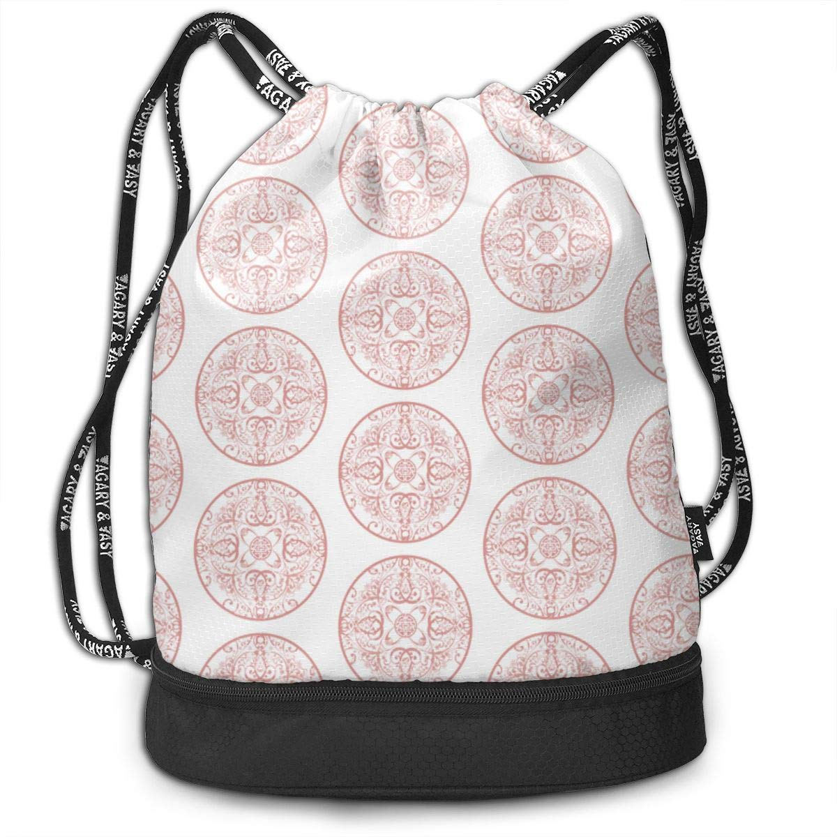 Sprudla Dot Multi Pink Drawstring Backpack Sports Athletic Gym Cinch Sack String Storage Bags for Hiking Travel Beach