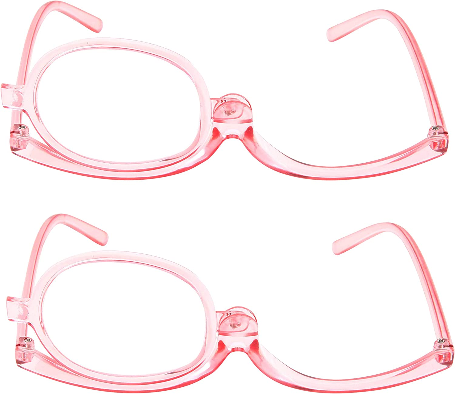 2 Pack Magnifying Makeup Glasses Eye Make up Womens Cosmetic Reading Glasses Spectacles Flip Over Lens Folding (Pink, 2.00)