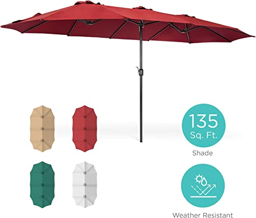 Best Choice Products 15x9ft Large Double-Sided Rectangular Outdoor Aluminum Twin Patio Market Umbrella w Crank and Wind Vents – Red