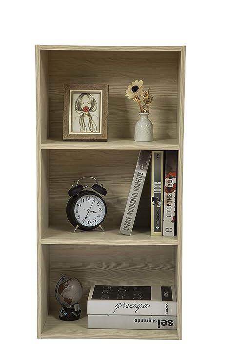 Jeroal 3 Shelf Wooden Bookshelf Bookcase 3 Cube Organizer Storage Organizing Cube Storage Unit 15 75 W X 9 45 Dx31 5 H White Oak