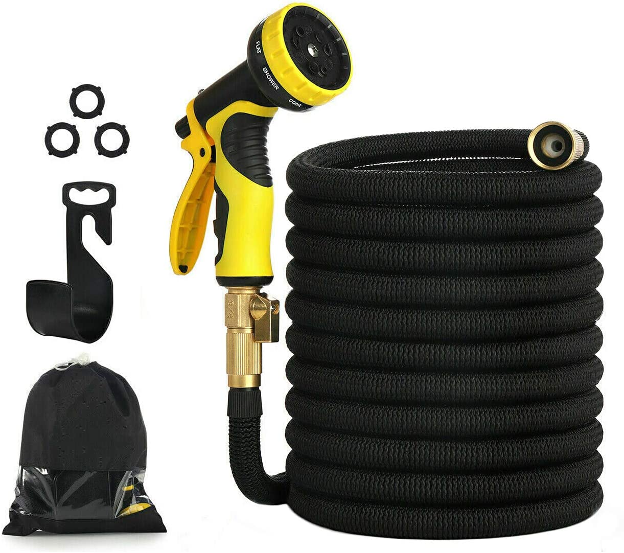 Garden Hose 150ft 45m Expandable Strongest Double Latex Inner Tube Prevent Leaking Magic Hosepipe with 9 Function Spray Gun+Solid Brass Fittings Extended version 150FT-45M