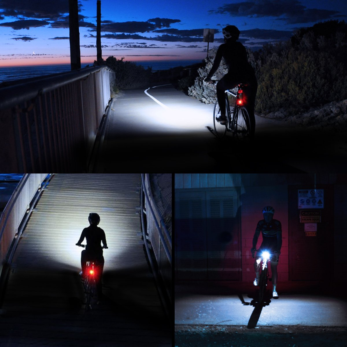 300lm Super Bright Bicycle Headlight Front Rear Light Set Cycling Taillight LE USB Rechargeable Bike Light Set 4 Lighting Modes