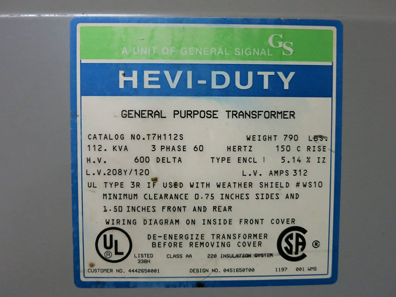 208y 120 Volt Wiring Diagram Library 240 Delta Gs Hevi Duty Electric 112 Kva 600 3ph T7h112s Transformer 112kva 208