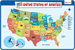 merka Kids Placemats Educational Placemat Non Slip Reusable Plastic United States of America Map USA States Capitals