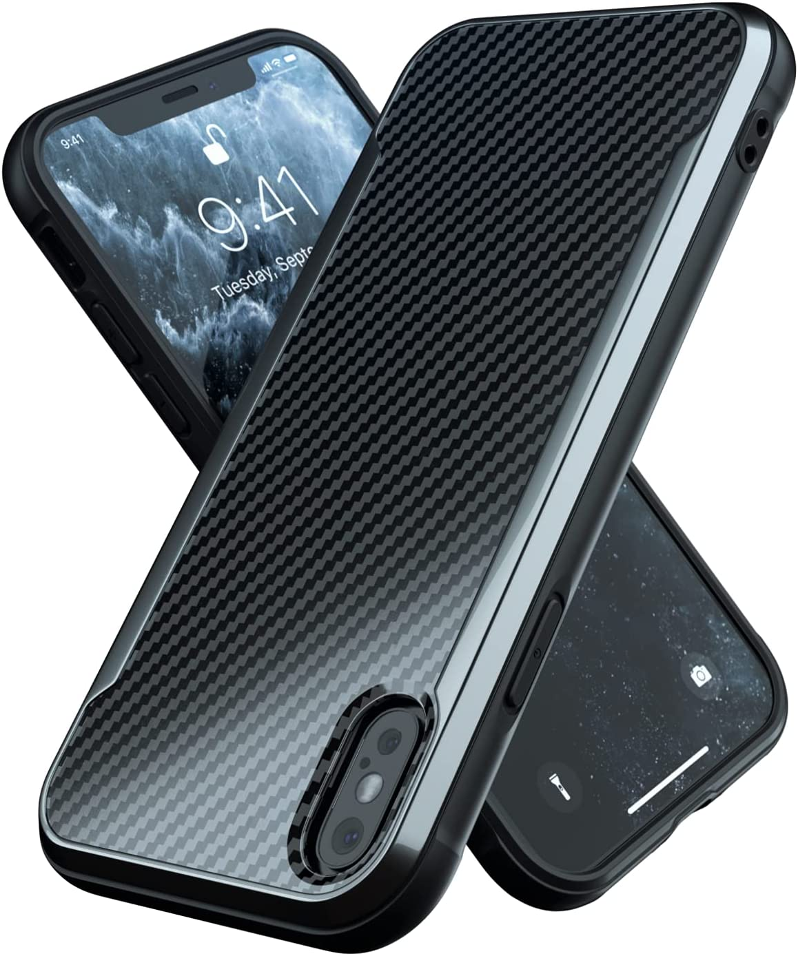 Nicexx Designed for iPhone Xs Max Case with Carbon Fiber Pattern, 12ft. Drop Tested, Wireless Charging Compatible - Black
