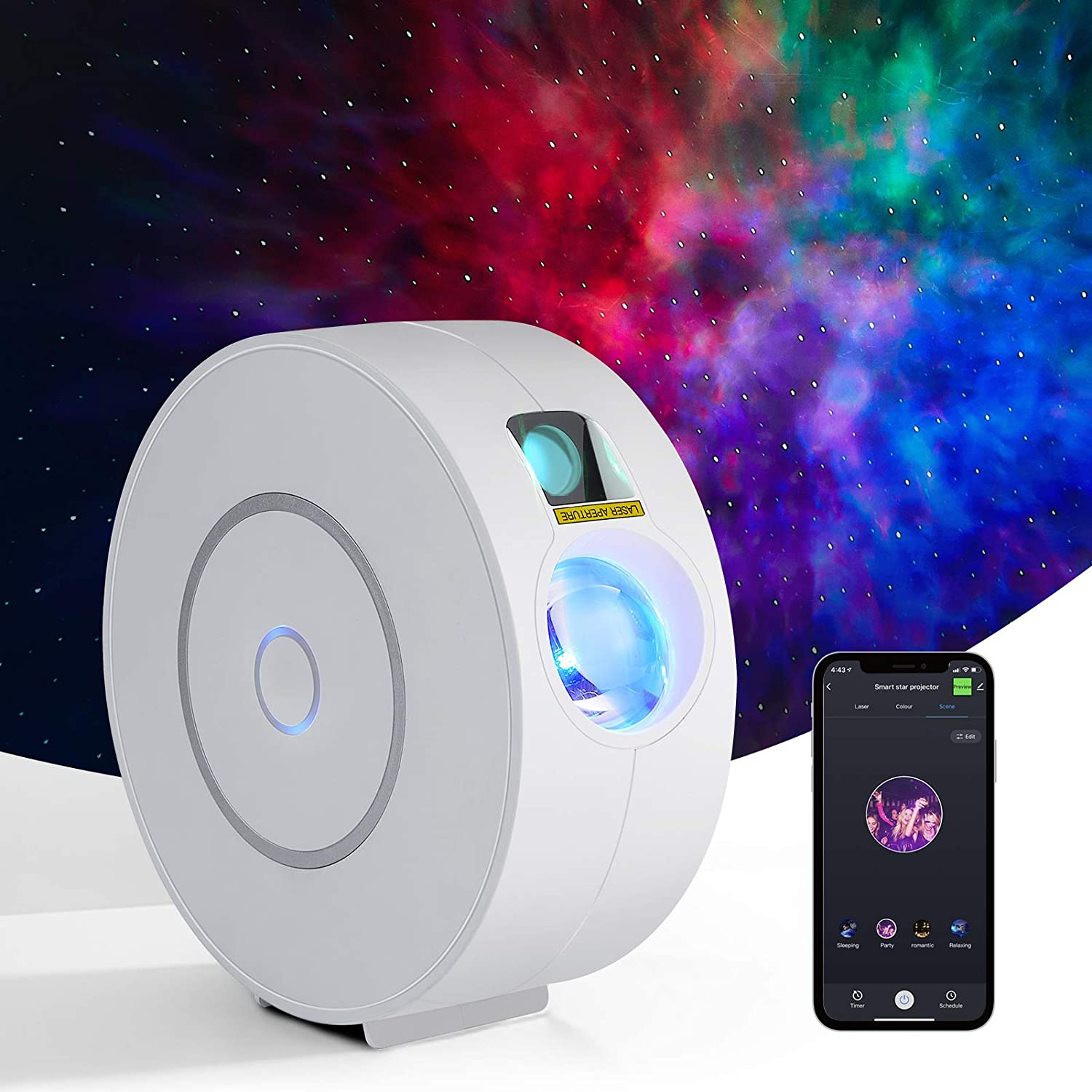Star Projector,Galaxy Projector,Night Light Projector,Sky Lights,Nebula Projector for Bedroom,Baby Room,Game Rooms and Party Decoration,Compatible with Alexa & Google Home,Control by APP,WiFi