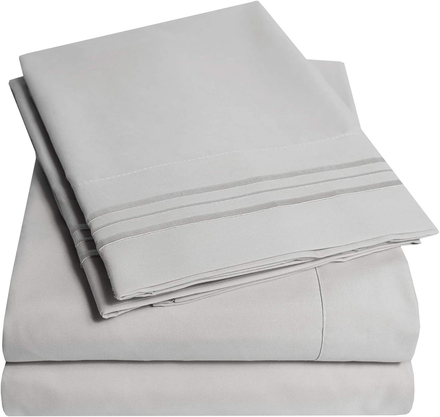 1500 Supreme Collection Extra Soft Split King Sheets Set, Silver - Luxury Bed Sheets Set with Deep Pocket Wrinkle Free Hypoallergenic Bedding, Over 40 Colors, Split King Size, Silver