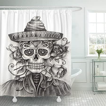 Cortina de ducha con gancho de poliéster, tela de tatuaje ...