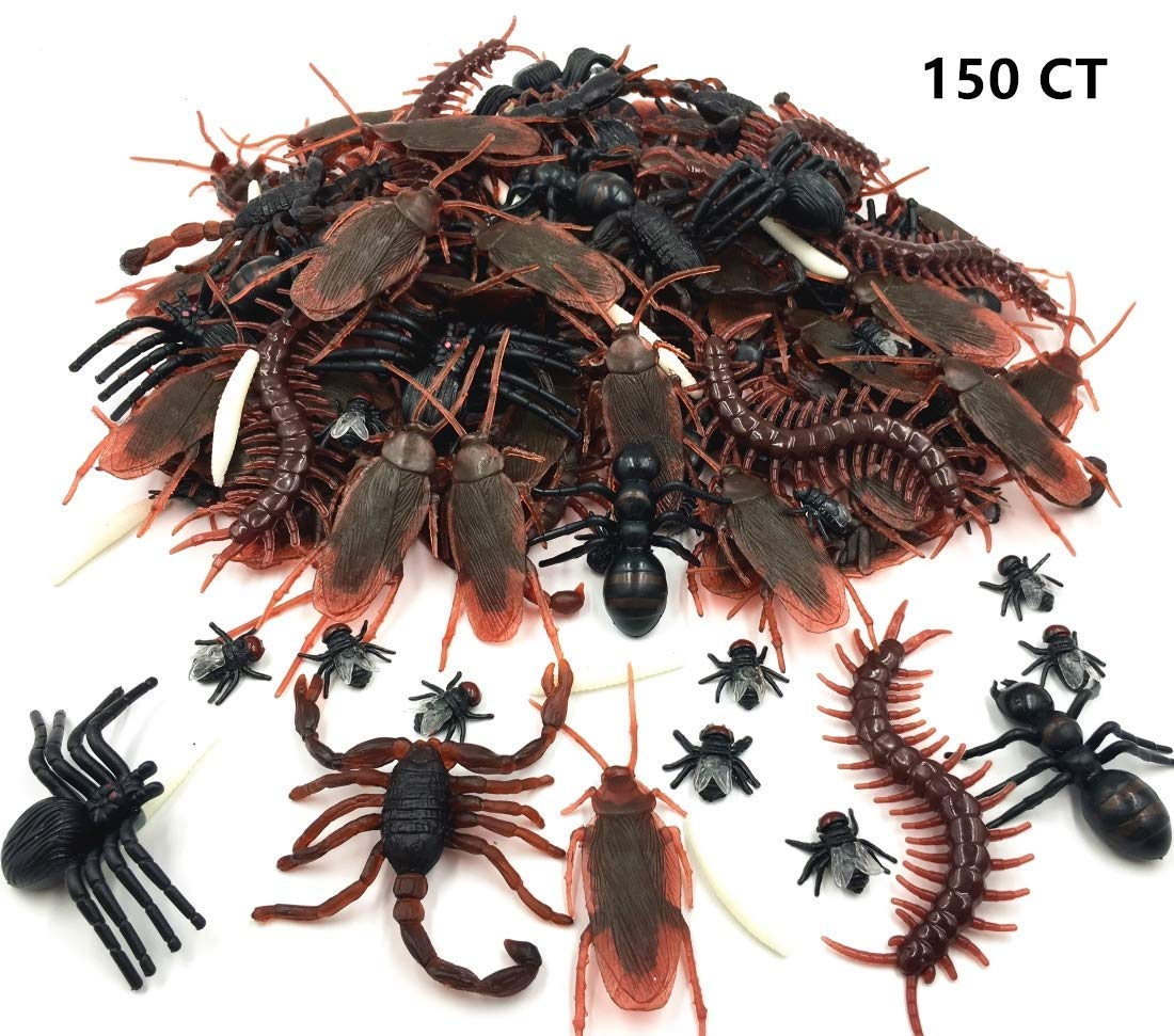 GuassLee 150pcs Realistic Bugs Plastic Artificial Cockroaches Spiders Centipedes Scorpions for Halloween Decorations and Party Favors