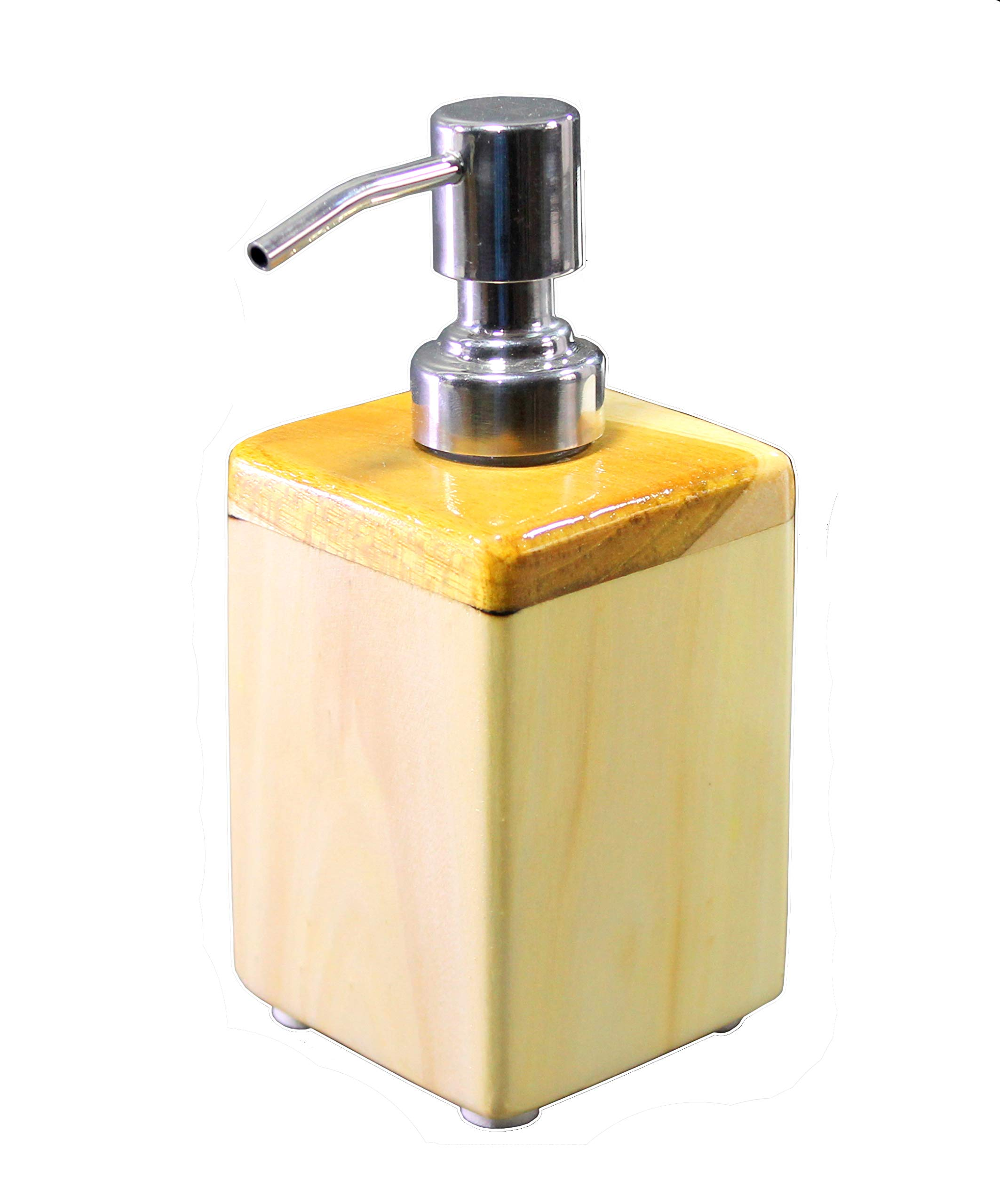 KLEO Wood Wooden Soap Dispenser - Made of Genuine Indian Wood - Luxury Bathroom Accessories Bath Set (Square Plain)