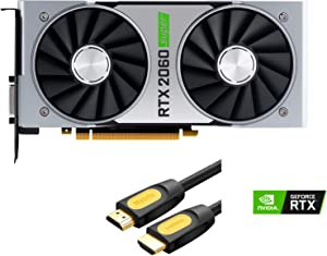 NVIDIA Geforce RTX 2060 Super Founders Edition Graphics Card 8GB GDDR6 PCIE Express 3.0 DisplayPort HDMI DVI-D USB-C 4K UHD Ray Tracing VR Ready with Mytrix HDMI 2.0 Cable