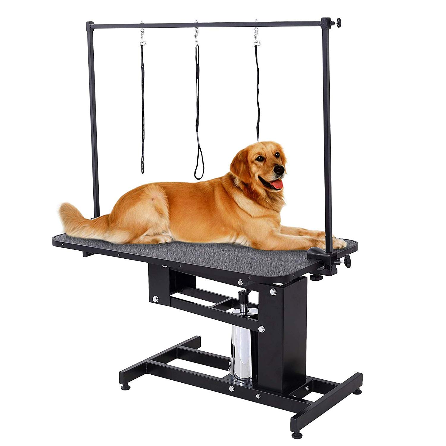 SUNCOO Hydraulic Dog Grooming Table Heavy Duty Z-Lift Pet Table with Arm Leash Loop Height Professional Adjustable Pump for Medium Large Dog 43.3'' L x 24'' W x 21.6-38.9'' H