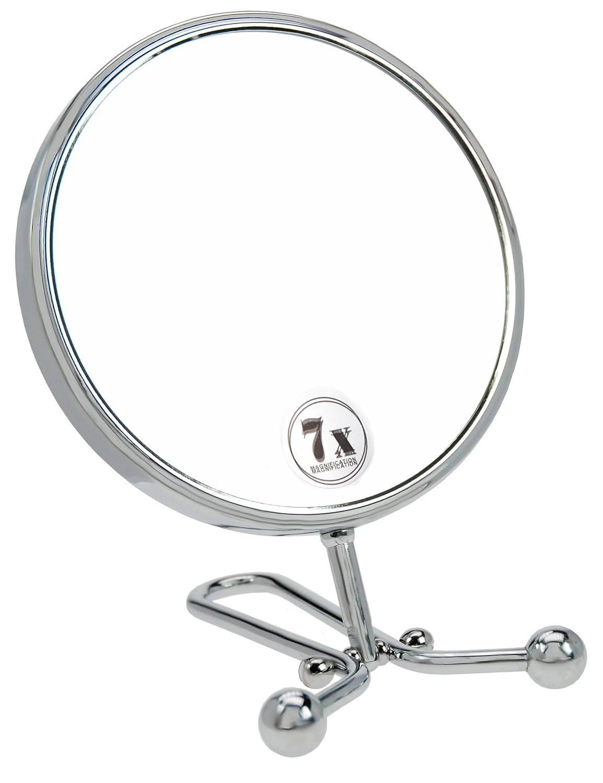 Fantasia - Specchio da tavolo/a mano in metallo, ingrandimento 7x, lunghezza: 29 cm, ø 15 cm, colore: Argento Fantasia KG Eric Espig (VSS) 43014