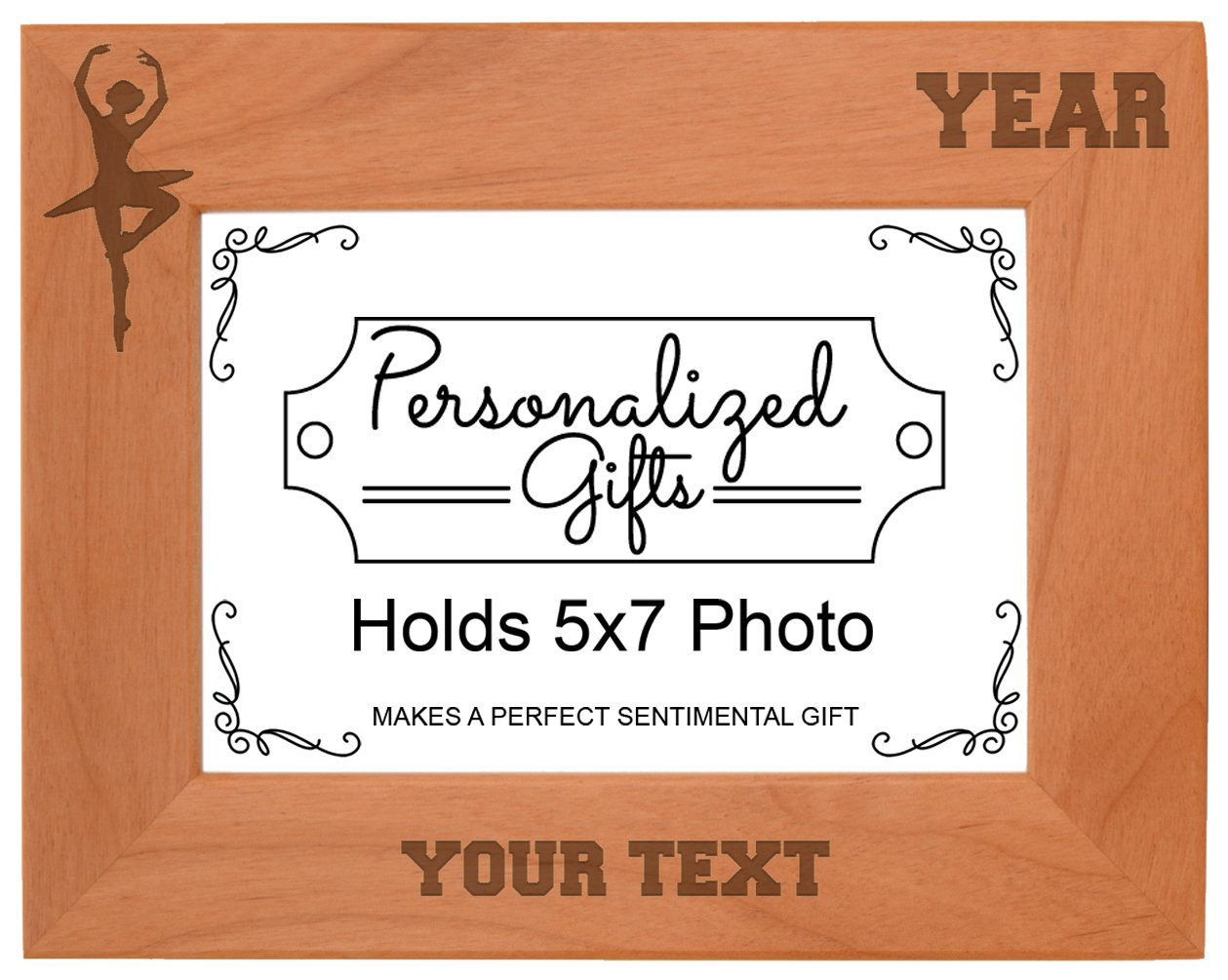 Custom Dance Gift Add Text Year Personalized Natural Wood Engraved 5x7 Landscape Picture Frame