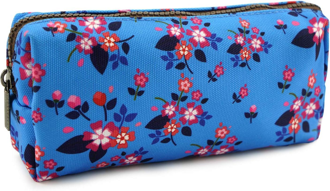 Floral Zipper Pouch Pencil Case Teacher Gift Flower Canvas Pen Bag Gadget Pouch Box Stationary Case Makeup Cosmetic Bag