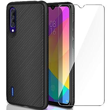 AROYI Carcasa Xiaomi Mi 9 Lite/Xiaomi Mi A3 Lite Funda Silicona & Protector Pantalla Cristal Templado, Slim Suave TPU Bumper Case Cover Anti-arañazos ...