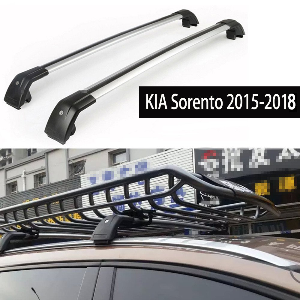 Fit for KIA Sorento 2015-2018 Lockable Baggage Luggage Racks Roof Racks Rail Cross Bar Crossbar - Silver KPGDG