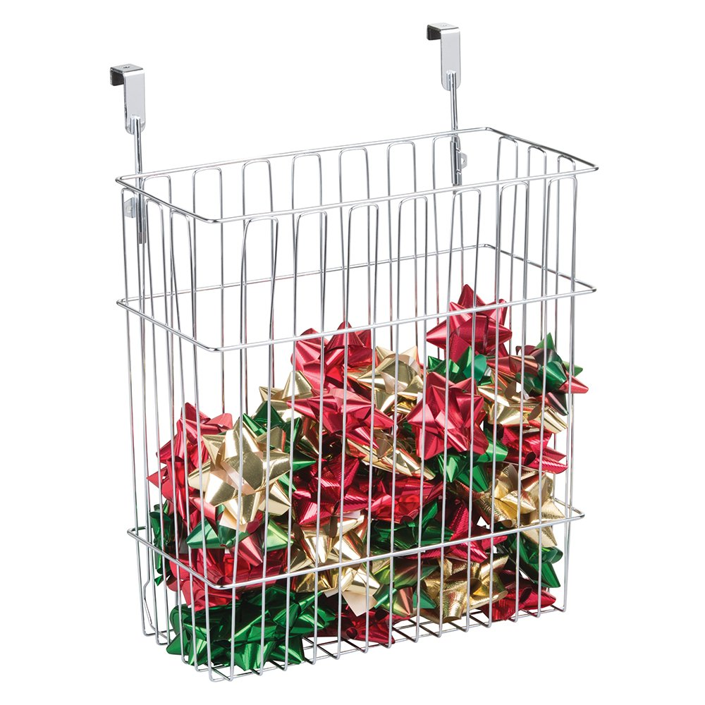 mDesign Over-the-Cabinet Holiday Organizer Basket for Wrapping Paper, Gift Bags, Bows - Chrome