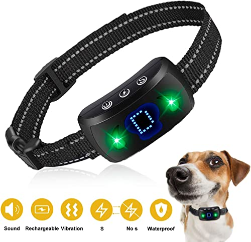 BESWIT Bark Collar 2020 Newest Rechargeable Dog Training Collar with Beep Vibration and LED Indicator for Small Medium Large Dog 4 Adjustable Sensitivity