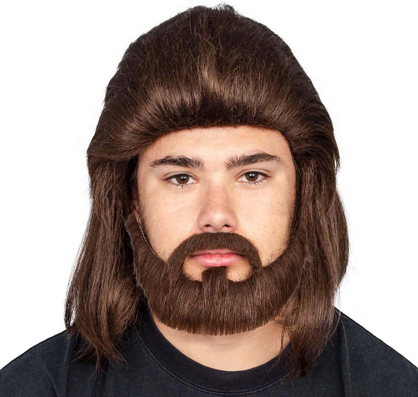 Adult Halloween Costume Accessory Deluxe Dark Wig and Beard Set Brown
