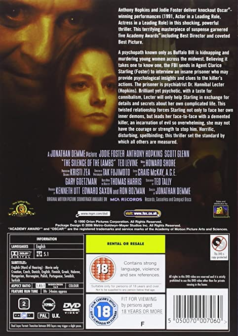 Silence Of The Lambs DVD [Reino Unido]: Amazon.es: Jodie ...