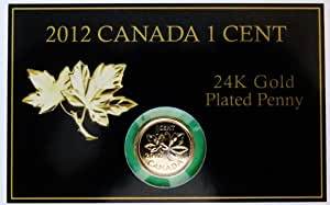2012 Canada Penny Commemorative Card Last 1 Cent Coin 24 K Gold Plated Amazon Ca Office Products