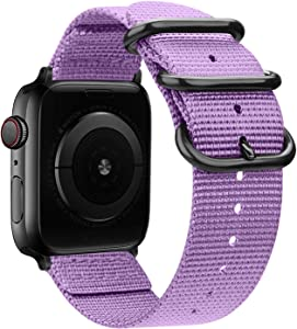 Misker Nylon Band Compatible with Apple Watch Band 44mm 42mm 40mm 38mm,Breathable Sport Strap with Metal Buckle Compatible with iwatch Series 5/4/3/2/1 (Lavender, 38mm/40mm)