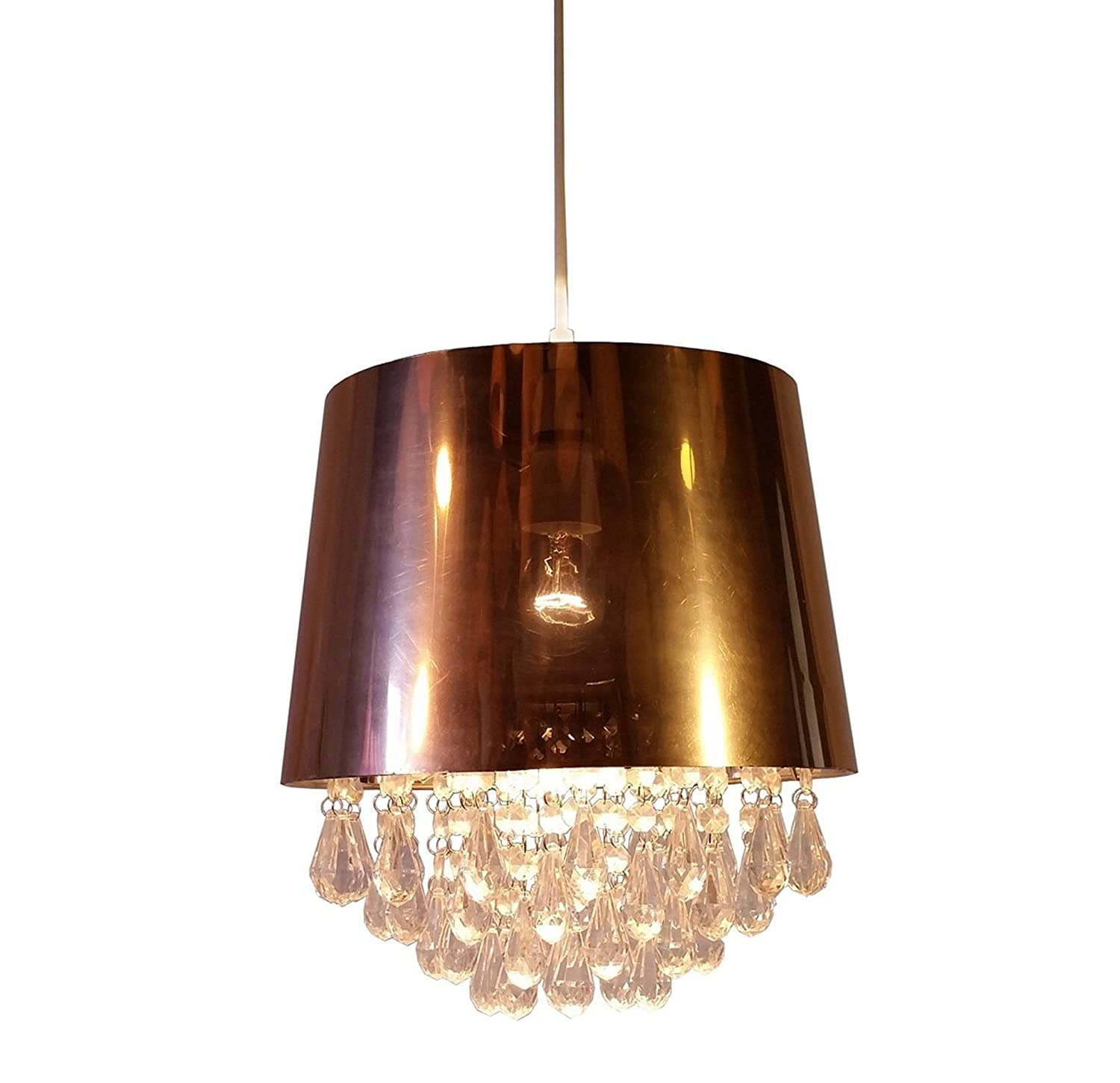 Kliving Dumfries Copper Drum and Clear Droplets Non Electric Pendant Ceiling Light Shade Amazon.co.uk Lighting  sc 1 st  Amazon UK & Kliving Dumfries Copper Drum and Clear Droplets Non Electric ... azcodes.com