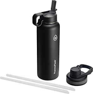 Thermoflask with Chug Lid and Straw Lid 40 oz Black