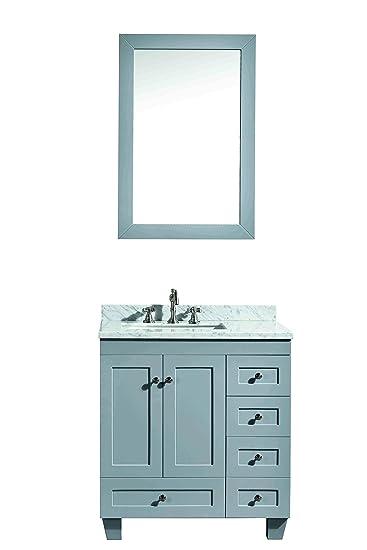 Eviva EVVN69 30GR Acclaim C. 30u0026quot; Transitional Bathroom Vanity With  White Carrera Marble