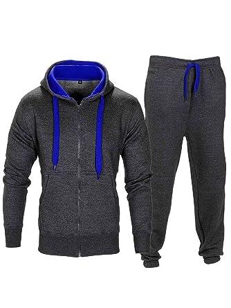 68ac445085 Love My Fashions® Survêtement pour Hommes Ensemble Cordon de Contraste  Toison Sweat à Capuche Top