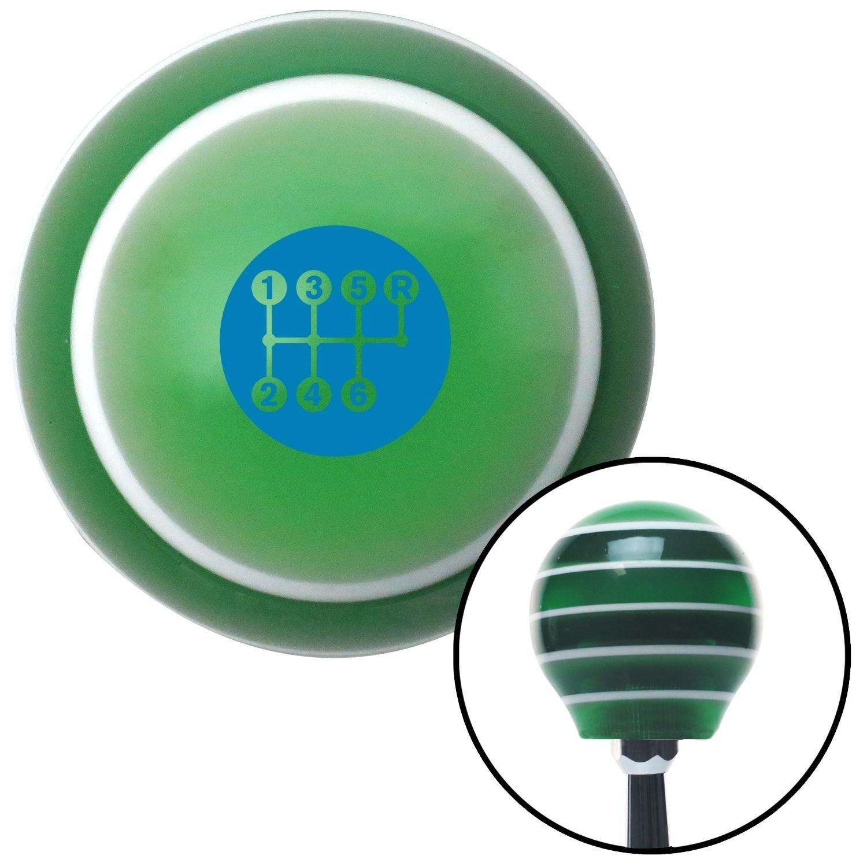 Blue 6 Speed Shift Pattern - Dots 26 Green Stripe with M16 x 1.5 Insert American Shifter 275547 Shift Knob