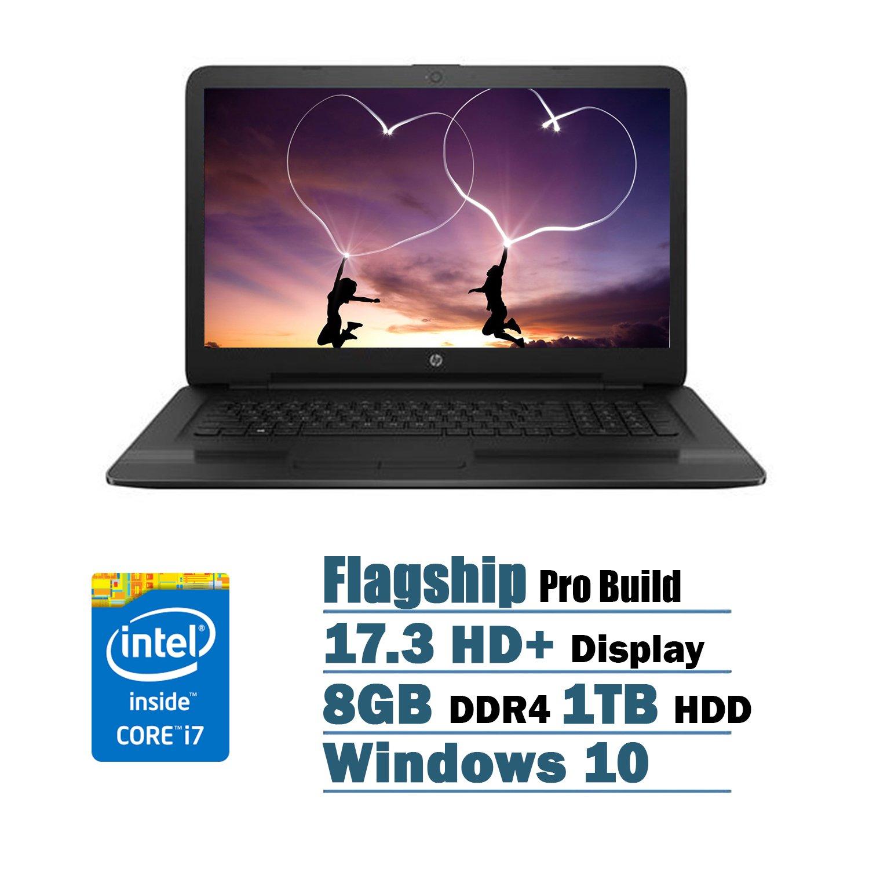 HP Flagship High Performance 17.3 inch HD+ Laptop PC, Intel Core i7-7500U Dual-Core, 2.70 GHz, 8GB DDR4, 1TB HDD, DVD RW, WIFI, Windows 10 (Black)