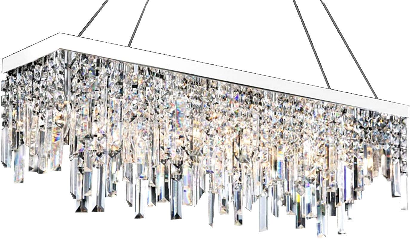 Moooni Contemporary Rectangle Crystal Chandelier Modern Hanging Dining Room Pendant Lighting Linear Design L31.5 x W8 6 Lights